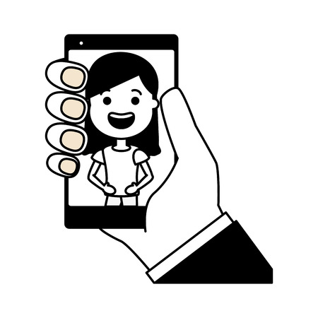 hand with mobile woman on screen tech device vector illustration black and white Banque d'images - 124866072