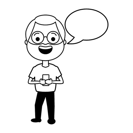 mature man chatting mobile tech speech bubble vector illustration black and white
