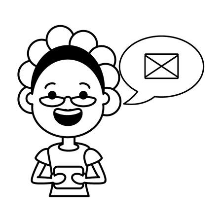 elderly woman sending message tech device vector illustration black and white
