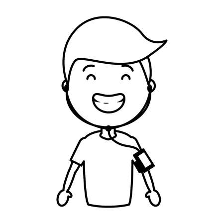 sport boy with wearable tech device vector illustration black and white Illustration