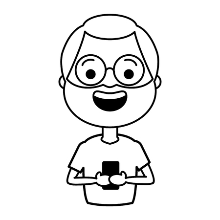 mature man chatting mobile tech device vector illustration black and white