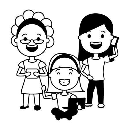 group women with mobile laptop tech device vector illustration black and white