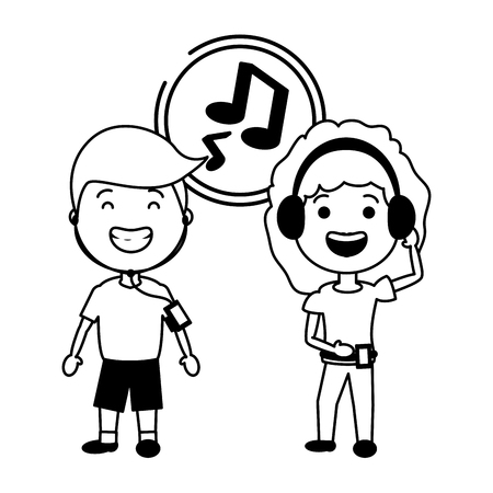 young couple with listening music tech device vector illustration black and white