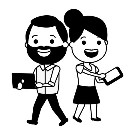 happy couple with laptop and mobile tech device vector illustration black and white