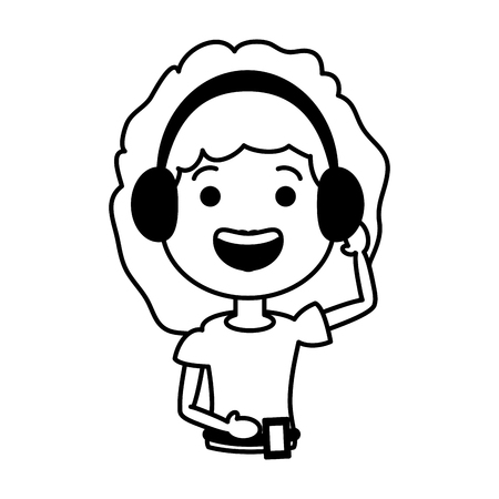 young woman using heaphones and cellphone tech device vector illustration black and white