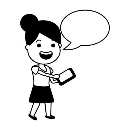 woman using cellphone tech speech bubble vector illustration black and white Illustration