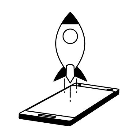 mobile rocket tech on white background vector illustration black and white Ilustração