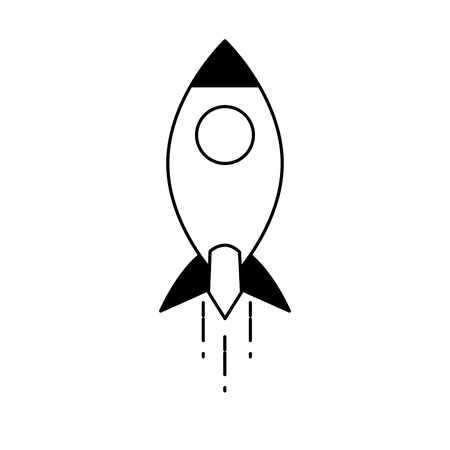 launching rocket travel on white background vector illustration black and white