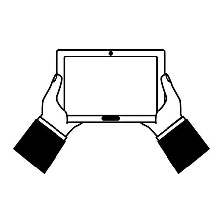 Hands holding tablet computer device vector illustration noir et blanc