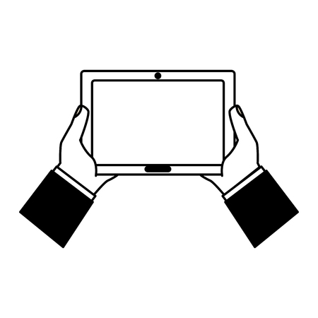 hands holding tablet computer device vector illustration black and white Illustration