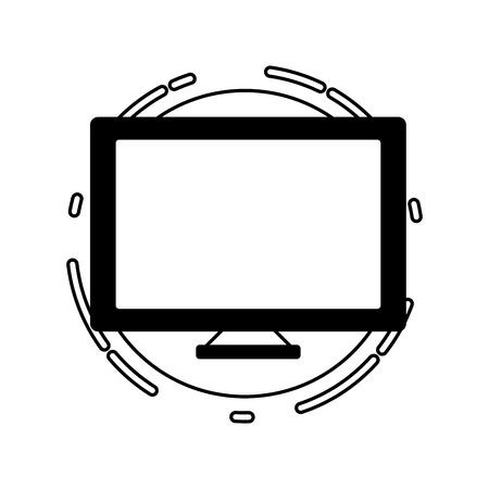 computer monitor tech digital icon vector illustration black and white Çizim