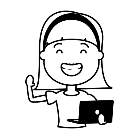 woman using laptop technology device vector illustration black and white