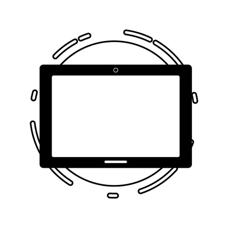 tablet computer tech device icon vector illustration black and white