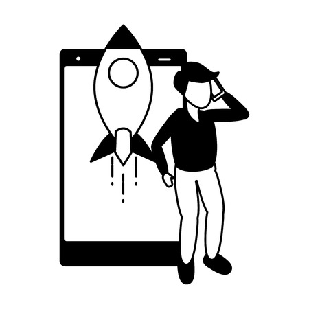 man with mobile rocket tech device vector illustration black and white 일러스트