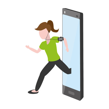 woman running with cellphone tech device vector illustration Illustration