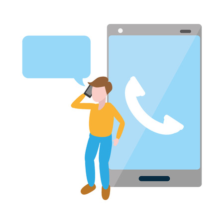 man using mobile calling tech device vector illustration