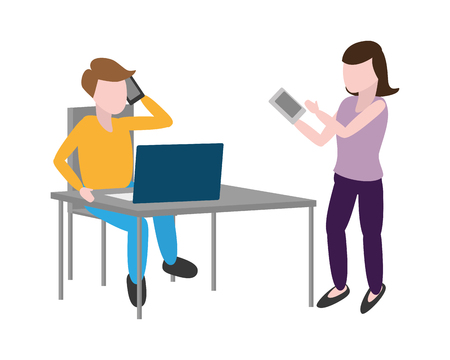 woman and man with cellphone laptop office tech vector illustration Standard-Bild - 124834482