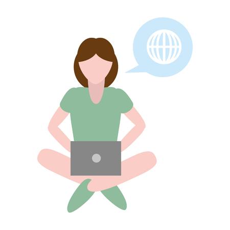 woman using laptop tech device vector illustration