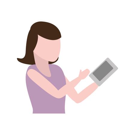 woman using cellphone tech device vector illustration Banque d'images - 124834492