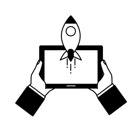 hands with tablet rocket tech device vector illustration