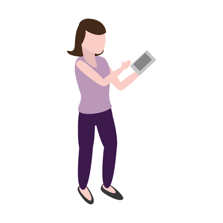 woman using smartphone tech device vector illustration