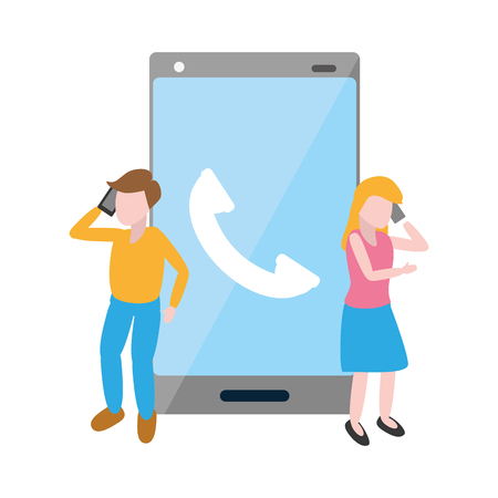man and woman talking cellphone tech device vector illustration