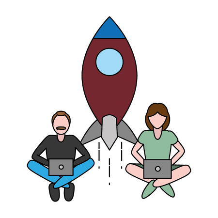 man and woman using laptops mobile startup tech vector illustration Illustration