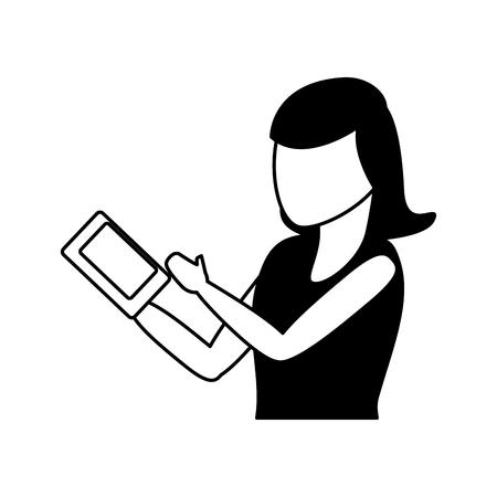 woman using cellphone tech device vector illustration Banque d'images - 124834574