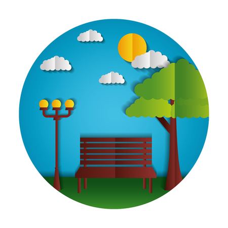 park bench lamp tree paper origami landscape vector illustration