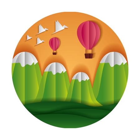 hot air balloons mountains birds paper origami landscape vector illustration Illustration