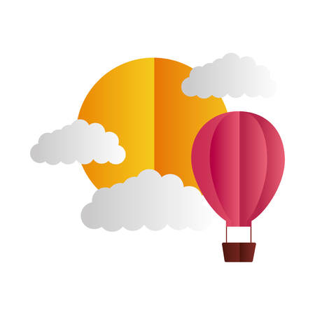 air balloon sun clouds paper origami vector illustration Illustration