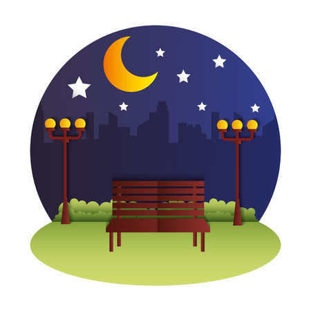 night park bench lamp moon paper origami landscape vector illustration Иллюстрация