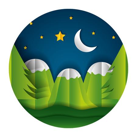 mountains night moon stars paper origami landscape vector illustration Illustration