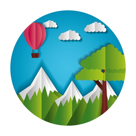 mountains tree and hot air balloon paper origami landscape vector illustration Ilustrace