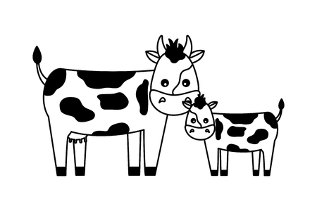 vaca y ternero en la ilustración de vector de fondo blanco