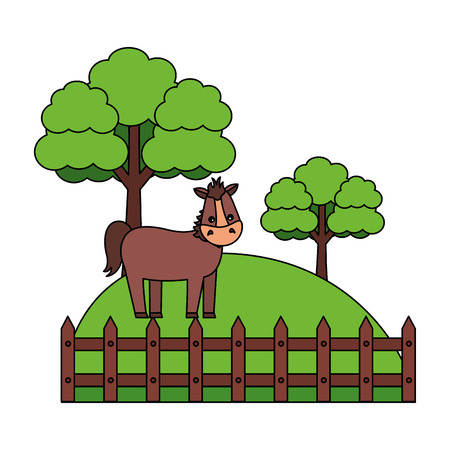 horse fence trees grass farm animal vector illustration Illustration