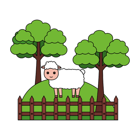 sheep trees fence grass farm animal vector illustration