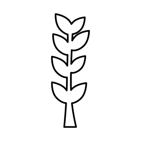 branch leaves outline white background vector illustration