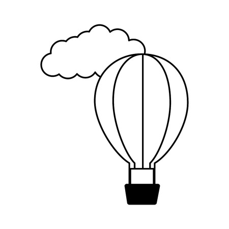 hot air balloon cloud white background vector illustration  イラスト・ベクター素材