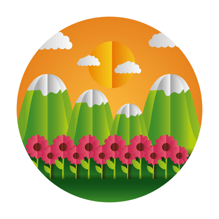 mountains and flowers paper origami landscape vector illustration