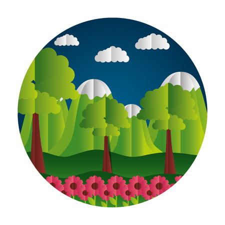 mountains and flowers trees paper origami landscape vector illustration