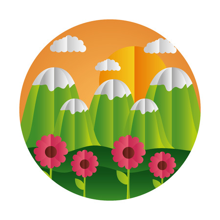 mountains and flowers sun paper origami landscape vector illustration