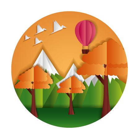 trees mountains air balloon and birds paper origami landscape vector illustration Иллюстрация