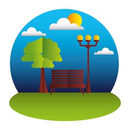 park bench lamp tree paper origami landscape vector illustration