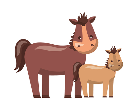 mare and foal cartoon on white background vector illustration Ilustrace