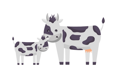 cow and calf on white background vector illustration