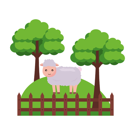 sheep trees fence grass farm animal vector illustration