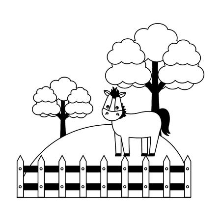 horse fence trees grass farm animal vector illustration Illusztráció