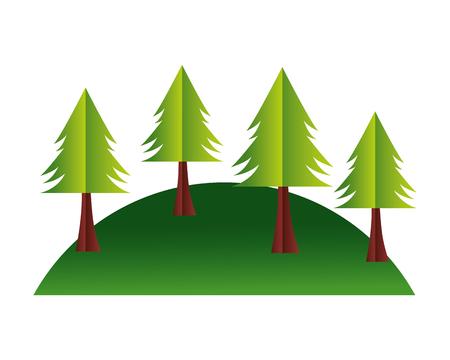 trees hill paper origami landscape vector illustration