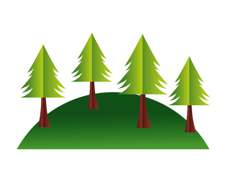 trees hill paper origami landscape vector illustration